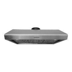 Super thick 1.0mm, Non-Magnetic / Rustproof commercial grade high quality stainl - XtremeAIR 36 Inch Under Cabinet Stainless Steel Range Hood UL13-U36 - XtremeAIR 36 Inch Under Cabinet Range Hood with 900 CFM Dual Blower, Stainless Steel Baffle Filters, Stainless Steel Oil Capture Tunnel, 3-speeds mechanical EZ push buttons, two x 2W energy efficient Led lights.