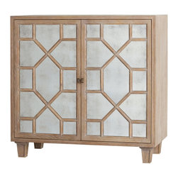 Kathy Kuo Home - Remington Oak Hollywood Regency Antique Mirror Media Cabinet - Storage and style don't have to be at odds.  This gorgeously detailed mirrored cabinet makes it clear.  Roomy enough for drinks or electronics - or both - contemporary spaces will breath a sigh of relief to see this arrive.