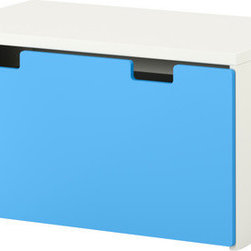 Ebba Strandmark - STUVA Storage Bench - Keep books, toys and games orderly with this simple blue and white storage bench. Perfect for a little boy's room!