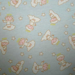 "SheetWorld - SheetWorld Fitted Pack N Play (Graco) Sheet - Angels Blue - Made in USA - This luxurious 100% cotton ""flannel"" pack n play (graco) sheet is made of the highest quality fabric that's double napped. That means these sheets are the softest and most durable. Sheets are made with deep pockets and are elasticized around the entire edge which prevents it from slipping off the mattress, thereby keeping your baby safe. These sheets are so durable that they will last all through your baby's growing years. We're called sheetworld because we produce the highest grade sheets on the market today. Features an adorable angel print on a blue background. Size: 27 x 39. Not a Graco product. Sheet is sized to fit the Graco playard. Graco is a registered trademark of Graco."