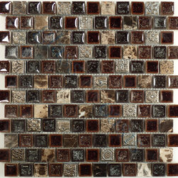 "Euro Glass - Offset Crocodile Road 7/8"" x 7/8"" Brown 1"" x 1"" Polished Glass and Stone - Sheet size: 0.98 Sq. Ft."