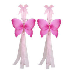 "Bugs-n-Blooms - Butterfly Tie Backs Dark Pink Crystal Nylon Butterflies Tieback Pair Set Decor - Window Curtains Holder Holders Tie Backs to Decorate for a Baby Nursery Bedroom, Girls Room Wall Decor - 5""W x 4""H Crystal Curtain Tieback Set Butterfly 2pc Pair - Beautiful window curtains tie backs for kids room decor, baby decoration, childrens decorations. Ideal for Baby Nursery Kids Bedroom Girls Room.  This gorgeous butterfly tieback set is embellished with sequins, glitter and has a beaded body.  This pretty butterfly decoration is made with a soft bendable wire frame & have color match trails of organza ribbons. Has 2 thick color matched organza ribbons to wrap around the curtains. Visit our store for more great items. Additional styles are available in various colors, please see store for details. Please visit our store on 'How To Hang' for tips and suggestions. Please note: Sizes are approximate and are handmade and variances may occur. Price is for one pair (2 piece)"