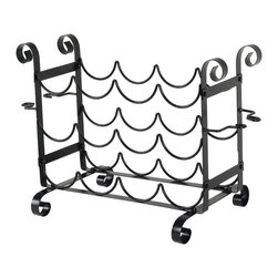Group 5 Marketing - Matt Black Metal Bottle & Glass Counter Wine Rack - This sturdy metal wine rack offers easy storage and display of 12 bottles and 4 wine glasses. This wine rack makes a perfect addition to any kitchen or dining room. Assembly required. Holds 12 Bottles and 4 Wine Glasses
