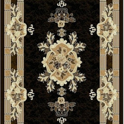 Rug Factory - Mayan Collection Style 265 Black 8' x 11' Size Area Rug - Mayan collection style 265 black 8' x 11' size area rug. Persian, Egyptian and classical themed , made with 100% Polypropylene.