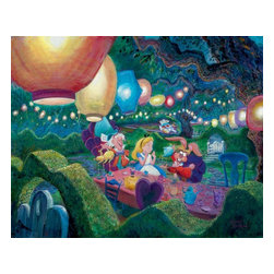 Disney Fine Art - Disney Fine Art Mad Hatter's Tea Party by Harrison Ellenshaw - Mad Hatter by Disney Fine Art  -  Medium: Hand Embellished Giclee on Canvas  -  Dimensions Height X Width: 24 x 30  -  Edition Size: 195  -  Hand Signed By The Artist: Harrison Ellenshaw  -  Produced by Collector's Editions  -  Fully Authorized Disney Fine Art Dealer  -  Ships Rolled in a Tube  -  From The Walt Disney Motion Picture Alice In Wonderland