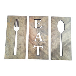 Timber Art Signs - Eat Fork Spoon Kitchen Art Wooden Plaques Carved Wooden Wall Decor - This wooden eat sign is three separate pieces of wooden boards with cut out fork spoon and eat. Modern minimalist style a great addition to any kitchen or restaurant.