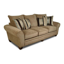 American Furniture - Upholstered Sofa in Waverly Suede Color - Cannot be shipped to California - not compliant with CA code. Pillows included. Upholstered. Color: Waverly Suede. 100 in. W x 45 in. D x 45 in. H