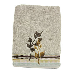 Bacova - Bacova Birch Reflections Towel - 49616 - Shop for Towels from Hayneedle.com! The Bacova Birch Reflections Towel shows the softer of rustic style with a beautiful design of embroidered cotton terry in an earthy botanical design. This black yellow and beige set comes in your choice of individual bath hand or tip towel or can be purchased as a full three-piece set for a stylish and harmonious bathroom decor.