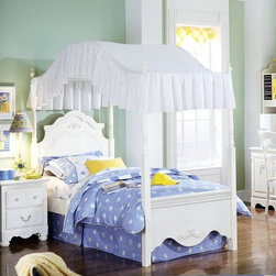Standard Furniture - Standard Furniture Canopy Bed (Full) - Choose Size: FullThis charming Children's Canopy Bed with White Lace will spirit your little princess off to dreamland with a smile!  Available in Twin and Full sizes, this lovely, well-made bed displays ornate Victorian style overlays and a billowing dome canopy.  The beautiful Diana Poster Bed and Canopy comes from the Kathy Ireland collection and displays their trademark quality and style.  Romantic design cues from the classics of upscale Victorian furniture turn this canopied poster bed into a child's dream factory.  A four-poster bed with canopy top from the Kathy Ireland collection is the perfect addition to a little girl's room. * Canopy Cover not included. Victorian style overlays grace every piece adding a soft and feminine feel. Bun feet raise cases off the floor. Case doors open to reveal spacious storage compartments. Desk keyboard operates on metal glide system. Desk hutch accommodates two CD towers. Profiled toe plates complement overall flowing feel. Constructed from wood products with simulated wood grain laminates. Surfaces clean easily with a soft cloth. Simulated, white wash wood grain color (antique white). Twin. Headboard: 41 in. W x 2 in. D x 68 in. H. Footboard: 41 in. W x 2 in. D x 68 in. H. Canopy: 78 in. L x 39 in. W x 12 in. H. Full. Headboard: 55 in. W x 2 in. D x 68 in. H. Footboard: 55 in. W x 2 in. D x 68 in. H. Canopy: 78 in. L x 54 in. W x 12 in. H