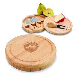 """Picnic Time - New York Mets Brie Cheese Board Set in Natural - The Brie cheese board set is the perfect sized accessory for a small party or get-together. The board is a 7.5"""" swivel-style, split level circular cutting board made or eco-friendly rubberwood that swings open to reveal the cheese tools housed under the board. The three stainless steel cheese tools have rubberwood handles. Tools included are a hard cheese knife, a chisel knife (hard crumbly cheese), and a cheese fork. A carved moat surrounds the perimeter of the board which helps to prevent brine or juice run-off. The Brie makes a delightful gift.; Decoration: Laser Engraved; Includes: 3 Stainless steel cheese utensils (1 hard cheese knife, a chisel knife (hard crumbly cheese), and cheese fork) with wooden handles"""