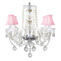 The Gallery - Venetian Style Crystal Chandelier with Pink Shades - To live your fantasy, start at the ceiling. Nothing nears the splendor of this crystal chandelier with blush pink shades, sparkling ball drops and scalloped bobeches. It's a masterpiece of illumination for your favorite formal setting.