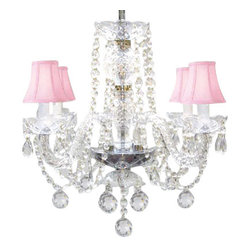 The Gallery - Murano Venetian style All Crystal chandelier with Crystalalls and Pink Shades - To live your fantasy, start at the ceiling. Nothing nears the splendor of this crystal chandelier with blush pink shades, sparkling ball drops and scalloped bobeches. It's a masterpiece of illumination for your favorite formal setting.