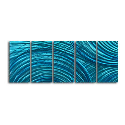 """'Ripples in the Deep' 5 Piece Handmade Metal Wall Art Set - Size: 24"""" x 60"""" (24"""" x 12"""" x 5pc).  Enjoy a 100% hand crafted metal wall art made of high grade brushed aluminum over a 1/2 inch thick inner wooden frame. This beautiful wall decor is hand painted and ready to hang out of the box. Each aluminum sheet is hand sanded and hand grinded until the desired holographic effect is accomplished. This process brings the artwork to life and you see it moving as you walk by. Then the grinded panels are hand painted with multiple layers of paint and finished with clear UV coat. With each purchase of our metal art you receive a one of a kind piece due to the handcrafted nature of the product. Hand crafted by a single talented artist. Due to the handcrafted nature, each piece may have subtle differences."""