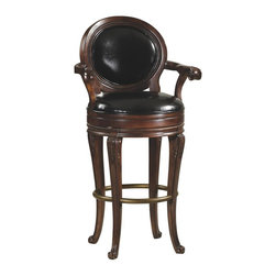 Howard Miller - Saranac Bar Stool w Round Upholstered Seat an - Complement your Saranac freestanding bar with matching stools. These have many traditional features including acanthus carvings at the knees and rolled arms. Cushioned upholstery on the seat and back gives it a welcoming edge. Settle in and enjoy great quality with solid framing. Matches the 693-002 Saranac bar and features ornately carved details on the seat back, arms and legs.. Offers a black cushioned back and seat with metal support springs and antique brass-tone foot rest. Americana Cherry Finish. Made of Hardwoods and Veneers. Some assembly required. 23 in. W x 24 1/4 in. D x 45 in. H. Seat height: 30 in.. Weight capacity: 300 lbs.