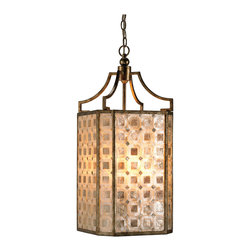 Kathy Kuo Home - St. Helens Modern Square Capiz Shell Panel 4 Light Lantern Pendant - Few elements create an instantly elegant lighting effect like a capiz shell light fixture.  Here's one lantern with a difference - the shells are laid as squares into the opaque panels. Simply stunning use of capiz shell design that must be illuminated to be truly appreciated.
