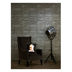 Kathy Kuo Home - British Industrial Stacked Luggage Wallpaper - Gunmetal - Hey, everybody's got baggage, but only a select few — including you, perhaps — are stylish enough to deck the walls with this covering. Richly textured and detailed, the coated paper makes a handsome, novel background for your favorite setting.