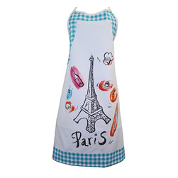 Provence Imports - Paris Bistro Cotton Apron - Blue - This fun apron includes the main aspects of proper French life: baguette, cheese, croissant, espresso, wine bottle, wine glass, chef hat and -- of course -- the Eiffel tower! Printed in vibrant colors on soft cotton with an aqua blue bistro check border, it is ready for work.