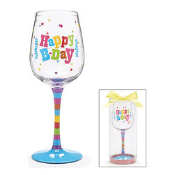 Burton & Burton - Happy Birthday Wine Glass - Decorative Cup - Cute And Fun For Bday Celebrations - What better way to celebrate your birthday than with a delicious glass of wine sipped from one of our fashionable wine glasses? Or perhaps you're looking for the perfect present for a friend's birthday bash. Well, look no further!