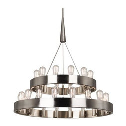 Robert Abbey Lighting - Robert Abbey Rico Espinet Candelaria 2-Tier Chandelier in Brushed Nickel - Brushed Nickel Finish over Metal.