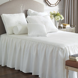 "Frontgate - Leonara Coverlet - Made by Eastern Accents. 100% linen. Choose from natural or crisp white. Twin: 63"" x 88"". Queen: 88"" x 90"". Super Queen: 96"" x 98"". King: 102"" x 90"". Super King: 114"" x 98"". Cal King: 104"" x 100"".. Dry clean only recommended. No textile will bring beauty, comfort, and organic texture to life like our Leonara Linen Bedding Collection. Embellished with quietly sophisticated details, Leonara possesses the charming air of the English countryside.  .  .  . .  . Because this bedding is specially made to order, please allow 4-6 weeks for delivery.. Fabrics woven in Italy; sewn in the U.S.A. Part of the Leonara Linen Bedding Collection."