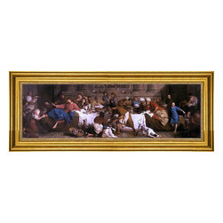 """Pierre Subleyras-14""""x28"""" Framed Canvas - 14"""" x 28"""" Pierre Subleyras The Feast in the House of Simon framed premium canvas print reproduced to meet museum quality standards. Our museum quality canvas prints are produced using high-precision print technology for a more accurate reproduction printed on high quality canvas with fade-resistant, archival inks. Our progressive business model allows us to offer works of art to you at the best wholesale pricing, significantly less than art gallery prices, affordable to all. This artwork is hand stretched onto wooden stretcher bars, then mounted into our 3"""" wide gold finish frame with black panel by one of our expert framers. Our framed canvas print comes with hardware, ready to hang on your wall.  We present a comprehensive collection of exceptional canvas art reproductions by Pierre Subleyras."""