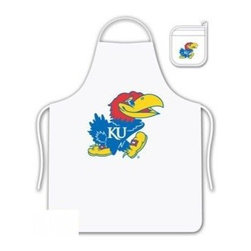 Sports Coverage - Kansas University Jayhawks Tailgate Apron and Mitt Set - Set includes your favorite collegiate Kansas University Jayhawks screen printed logo apron and insulated cooking mitt. White apron with white silver backed mitt. Both items are logoed. Tailgate Kit apron and mit is 100% cotton twill with screenprinted logo.