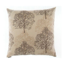 "Canaan - 24"" x 24"" Nile Tree Without Leaves Forest Pattern Print Fabric Throw Pillow - 24"" x 24"" Nile tree without leaves forest pattern print fabric throw pillow with a feather/down insert and zippered removable cover. These pillows feature a zippered removable 24"" x 24"" cover with a feather/down insert. Measures 24"" x 24"". These are custom made in the U.S.A and take 4-6 weeks lead time for production."