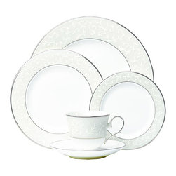 Lenox - Lenox Opal Innocence 5-piece Place Setting - The perfect white place settings for every occasion, this bone china set by Lenox provides service for one. The design features a platinum edge with a tone-on-tone floral design. Elegant and enchanting, this set will become a staple in your household.