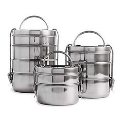 "Tiffin Lunch Box Set, Steel - This is a classic ""tiffin"" set, just like people use in India. Why mess with a winning design? I'd love to pack curry, rice, dal and Naan bread (or anything else) in there!"