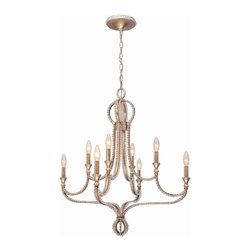 Crystorama - Crystorama Garland 1 Tier Chandelier in Distressed Twilight - Shown in picture: Chandelier with clear beads and Distressed Twilight finish.; Mixing metals is very hot in fashion right now - and we've done that in Garland by foiling silver over gold. This gives the collection an antique - yet contemporary feel and tremendous versatility to work in a variety of decors. The hand cut oval beads create a perfect marriage with the wrought iron frame which in turn dresses the frame from daytime to nightime. The Distressed Twilight finish from Crystorama is a perfect blend of silver and gold.