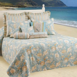 C & F Enterprises, Inc. - Natural Shells Bedspread - Give your bed a casual coastal feel with this softly colored quilted bedspread. Beautiful, natural colored shells adorn the soothing blue background, creating a look that is refreshing in any room.