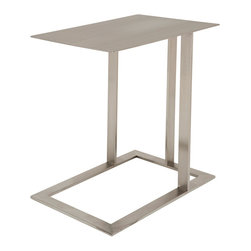Nuevo Living - Celine Side Table - Boasting a unique and cantilevered design, Celine side table is made from polished stainless steel flat frame and brushed stainless steel rectangular table top. Celine side table easily slides under a sofa, chair, bed, etc, and Ideal for eating, as a lap top computer table, study desk, reading, writing, or just about anything you normally use a table surface for.
