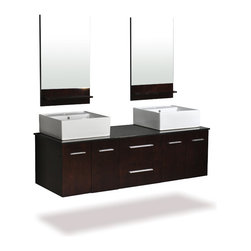 "Belmont Decor - Belmont Decor Skyline Vanity 60"" - The Skyline vanity is elegantly constructed of solid oak wood, double vessel sinks and matching mirrors. The counter top is made from high quality heat and scratch resistant natural granite. The Skyline will give you plenty of storage space with wood cabinet finish in Espresso designed to complement any decor, from traditional to modern. Its sophisticated yet modern sleek design will certainly make the Skyline your bathroom centerpiece.    Two doors with soft-closing hinges   Two dovetail drawers with soft-close glides (Dovetail drawers create an extremely strong joint between two pieces of wood)   Separate back splash design  Heat and scratch resistant black granite with double ceramic basin   CARB Compliant   Matching luxurious 19.5x31inch mirrors included   Vanity Size: 61x22x18inch"
