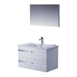 Adornus - Adornus YASMINE-32-HGW-C High Gloss White Vanity - * All Wood Vanity in High Gloss White and Wenge