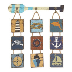 Classy Marine Themed Wood Rope Wall Decorative - Description: