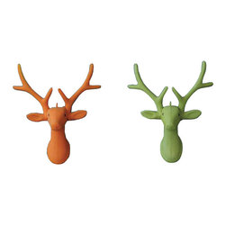 Good Cheer Deer Ornament - Set of 2 - Bring some joy and happiness to your space with this colorful ornament. Hung up in a group of other ornaments on your tree or displayed alone around the house, it'll bring good tidings to your holiday decor and the whole year through.