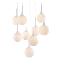 ZUO PURE - Epsilon Ceiling Lamp White - The frosted glow of the Epsilon's 9 pendent orbs will warm up any space. This ceiling lamp comes with nine 25W bulbs and is UL approved. The base is a glossy painted steel with frosted glass shades.