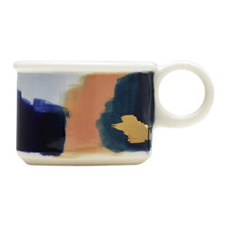 Canyon Series: Glacier Hand Painted Porcelain Espresso Mug With 14K Gold Luster - The Canyon Series is a line of work inspired our travels. Each color palette represents the awe inspiring natural hues at sunset of our favorite national parks. The mug here attempts to capture the aura and magic of Glacier National Park.