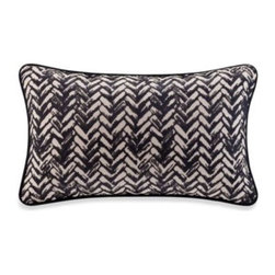 Harbor House - Harbor House Areca Oblong Toss Pillow - Escape to a tropical paradise every time you lay in bed with the Harbor House Areca Oblong Toss Pillow. The plush pillow adds finesse to your bedding with a basket weave design in blue with piped edge accents
