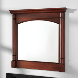 """32"""" Salford Vanity Mirror - Designed to accompany the Salford vanity, this 32"""" mirror has a rounded top, attractive side pillars and a warm Cherry finish."""