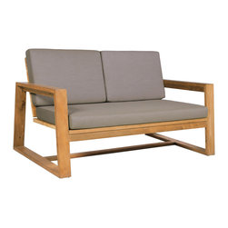 Mamagreen - Avalon Lounge 2-Seater - The Avalon Lounge 2 Seater combines an angular reclaimed teak frame with soft outdoor cushions upholstered in durable Sunbrella fabrics. The wide arms and angled back make for comfortable lounging.