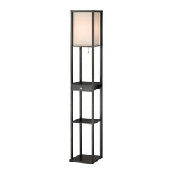 Adesso - Black Floor Lamps: Parker 62.5 in. Black Shelf Lamp with Drawer 3133-01 - Shop for Lighting & Fans at The Home Depot. The next generation of Adesso s best-seller shelf floor lamps is here. Parker comes with a handy drawer that lets you store items and features our popular open shelf design. The Parker has a black MDF wood open box frame with a collapsible square natural silk shade. Its bottom and two additional shelves provide three storage/display spaces. Easy to use ball-accented on/off pull-chain switch. Parker takes a 1x150 watt standard bulb or CFL equivalent.