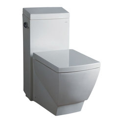 Fresca - Fresca Apus One-Piece Square Toilet w/ Soft Close Seat - The Apus elongated, one-piece toilet features an elegant, sophisticated design, that is both comfortable look at and to sit on.  This toilet features a low consumption single flushing system (1.6gpf).  It also features a fully glazed inner trapway and comes with a stain resistant polish making it easy to keep clean.