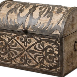 Silver Nest - Austin Box - Lightly stained rustic wood with ornate wrought iron metal details. Hinged lid provides easy access for storage.