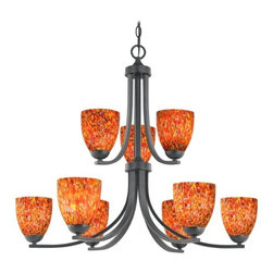 Design Classics Lighting - Modern Chandelier with Art Glass in Matte Black Finish - 586-07 GL1012MB - Contemporary / modern matte black 9-light chandelier. Takes (9) 100-watt incandescent A19 bulb(s). Bulb(s) sold separately. UL listed. Dry location rated.