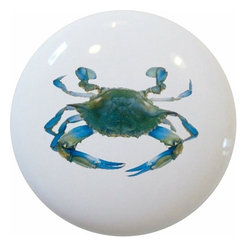 Carolina Hardware and Decor, LLC - Blue Crab Ceramic Cabinet Drawer Knob - New 1 1/2 inch ceramic cabinet, drawer, or furniture knob with mounting hardware included. Also works great in a bathroom or on bi-fold closet doors (may require longer screws). Item can be wiped clean with a soft damp cloth. Great addition and nice finishing touch to any room!