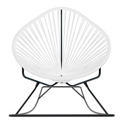 Acapulco Rocker, White Weave On Black Frame - Sit back and relax in this classic woven rocking chair. The iconic pear-shaped seat is perfect for enjoying the backyard, but looks equally stylish inside the home. Order from a rainbow of colors to match your personality or stay cool with classic black and you can't go wrong.