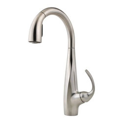 Price Pfister - Price Pfister F-529-7ANS Avanti 1 or 3-Hole Single Handle Pull-Down Lead Free Ki - Price Pfister F-529-7ANS Avanti 1 or 3-Hole Single Handle Pull-Down Lead Free Kitchen Faucet in Stainless SteelFeaturing sweeping curves and sleek, modest lines, this high-arc pull-down kitchen faucet rises gracefully over the sink for accessibility and modern style. The full-bodied metal lever handle is strong and durable. Price Pfister F-529-7ANS Avanti 1 or 3-Hole Single Handle Pull-Down Lead Free Kitchen Faucet in Stainless Steel, Features:• 1-Handle lever design for ease of use