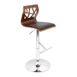 "Lumisource - Folia Bar Stool, Walnut/Black - 18.25"" L x 16"" W x 37.25 - 42.25"" H"