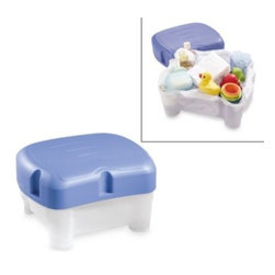 First Years - The First Years Sit & Store Parent Bathing Seat and Stepstool - Enjoy greater comfort while bathing your child with this sturdy tub-side seat that doubles as a container for bath toys. Seat adjusts to two heights and can be used as a stable step stool to help older children reach the sink.